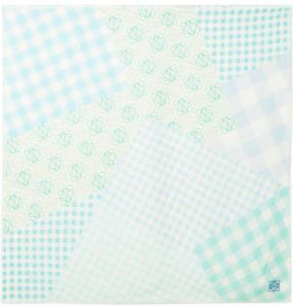 Loewe Frayed Gingham Silk Scarf - Mint