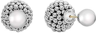 Lagos Sterling Silver Signature Caviar Bead Front-Back Stud Earrings