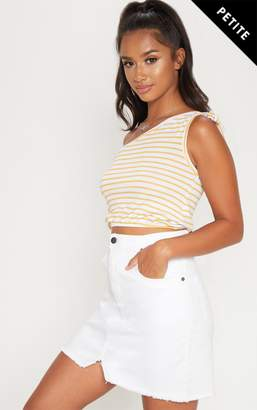 PrettyLittleThing Petite Mustard Striped Tie Shoulder Crop Top
