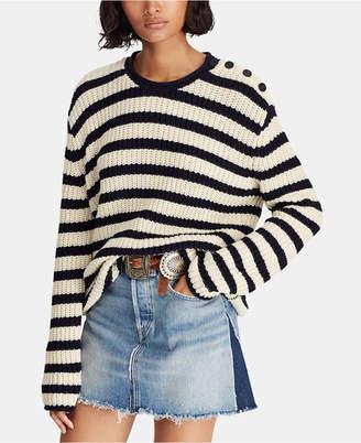 Polo Ralph Lauren Striped Roll-Neck Cotton Sweater