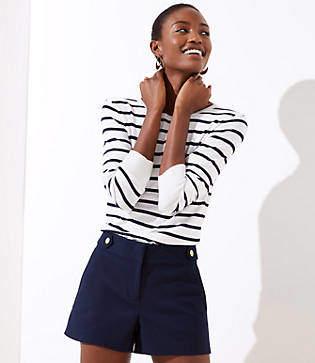 LOFT Petite Button Waist Tab Riviera Shorts with 3 1/2 Inch Inseam