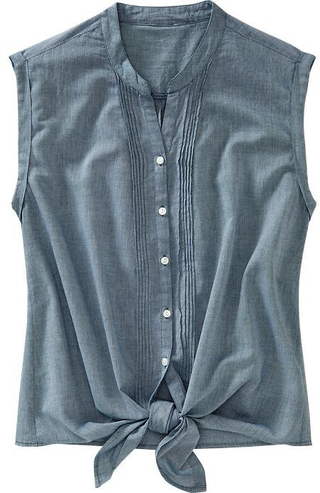 Women's Chambray Tie-Hem Tops