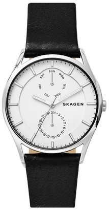 Skagen 'Holst' Multifunction Leather Strap Watch, 40Mm $175 thestylecure.com