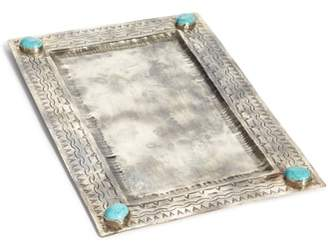 J. ALEXANDER Large Stamped Silvertone & Turquoise Tray