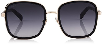 Jimmy Choo ELVA Black and Copper Gold Oversized Sunglasses with Shimmer Suede Detailing