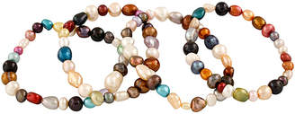 Splendid Pearls Set Of 4 5-8Mm Freshwater Pearl Stretch Bracelets