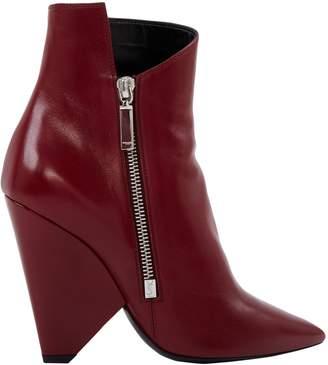 Saint Laurent Niki Burgundy Leather Ankle boots