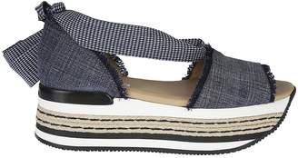 Hogan Bow-tie Wedge Sandals