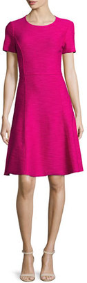 St. John Collection Catalina Knit Short-Sleeve Dress, Orchid $995 thestylecure.com