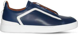 Ermenegildo Zegna Couture LEATHER SLIP-ON SNEAKERS W/ELASTIC BANDS