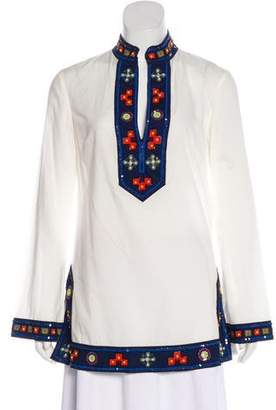 Tory Burch Sequined Colorblock Top
