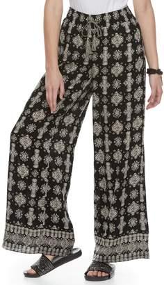 Mudd Juniors' Print Wide-Leg Soft Pants
