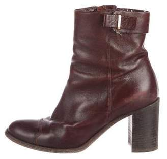Sartore Leather Round-Toe Ankle Boots