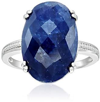 Sterling Silver Genuine Opaque Sapphire Slice Solitaire Engagement Ring