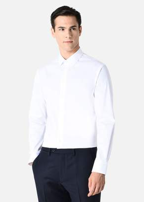 Emporio Armani Cotton Poplin Shirt With Half Spread Collar