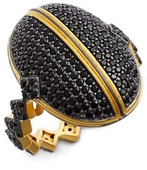 Freida Rothman 14K Gold & Black Rhodium Plated Sterling SilverHarlequin Edge Pave Dome Ring - Size 7