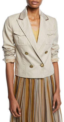 Brunello Cucinelli Paillette-Collar Double-Breasted Cropped Linen-Cotton Jacket