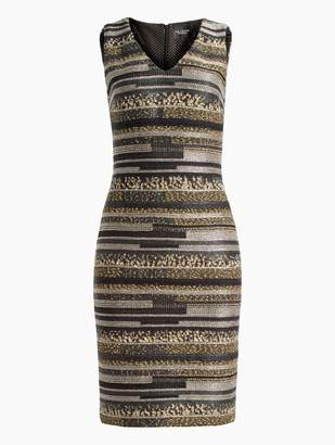 e39b13437068 St. John Gilded Eyelash Engineered Inlay Knit V-Neck Dress