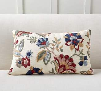 Pottery Barn Aviva Floral Embroidered Lumbar Pillow Cover