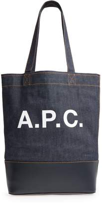 A.P.C. Cabas Axel Canvas & Leather Tote