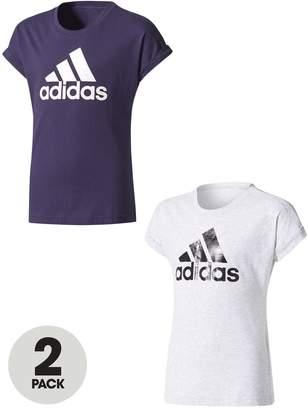 adidas Older Girls Pack Of 2 Logo Tees