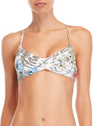 Vince Camuto White Printed Strappy Back Bikini Top