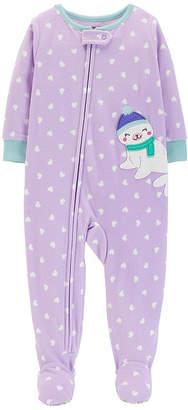 Carter's 1-Pc. Heart Footed Fleece Pajama - Baby Girl