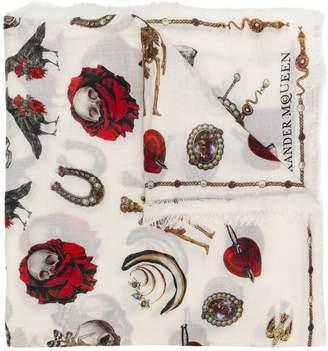 Alexander McQueen multi print scarf
