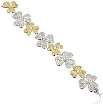 Kenneth Jay Lane CZ by Two-Tone Cubic Zirconia Flower Bracelet