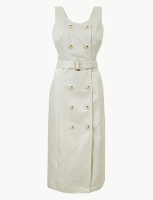 08c09592a56 M S CollectionMarks and Spencer Linen Rich Double Button Front Midi Dress