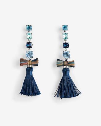 Express Linear Stone Tassel Drop Earrings