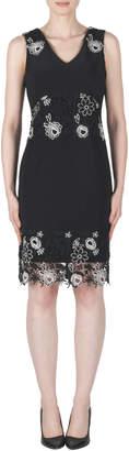 Joseph Ribkoff Floral Embroidery Detail V-Neck Dress