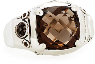 John Hardy Batu Bamboo Cushion-Cut Smoky Quartz Ring, Size 7
