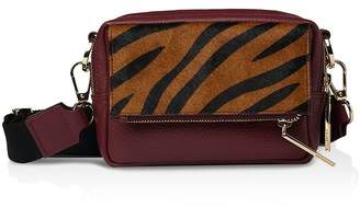 Whistles Coco Tiger Print Leather Crossbody