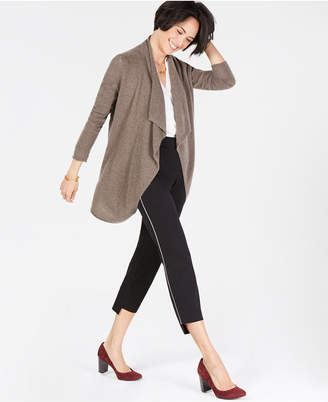 Charter Club Pure Cashmere Open-Front Draped Cardigan