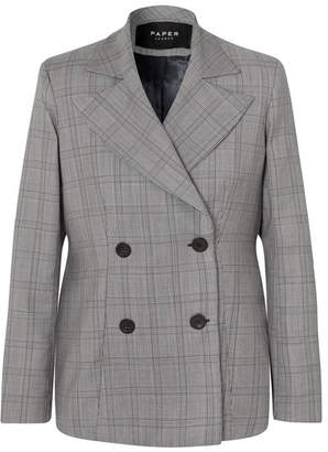 Paper London Leni Oversized Checked Wool-blend Blazer - Gray