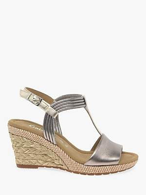 9e30669782 Gabor Jess Wide Fit Wedge Sandals, Pewter Leather