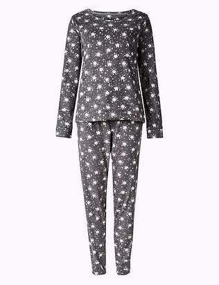 Marks and Spencer Fleece Star Print Long Sleeve Pyjama Set