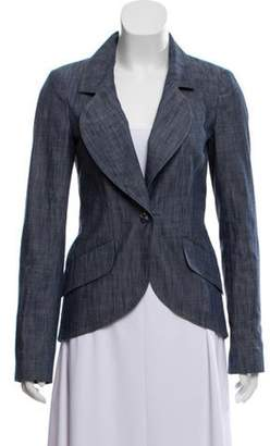 Chanel Chain-Link-Accented Chambray Blazer Blue Chain-Link-Accented Chambray Blazer