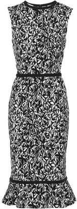 Oscar de la Renta Fluted Cotton-Blend Jacquard Dress