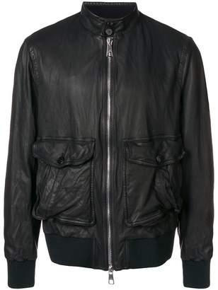 Neil Barrett Washed Leather Baracuda Collar Bomber Jacket