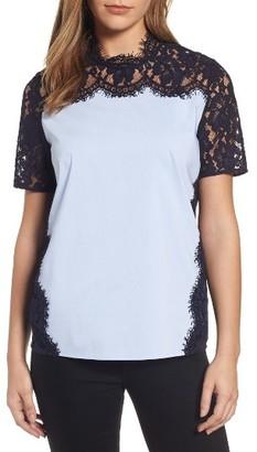 Women's Halogen Lace & Poplin Top $79 thestylecure.com