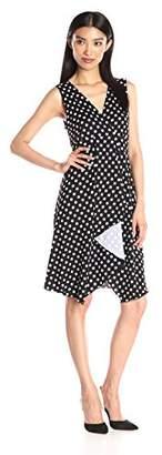 Star Vixen Women's Sleeveless Empire Waist Cascade Tulip Skirt Short Ity Knit Dress
