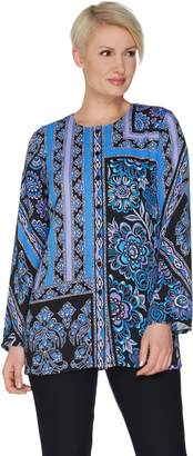Bob Mackie Bob Mackie's Placement Print Button Front Woven Tunic