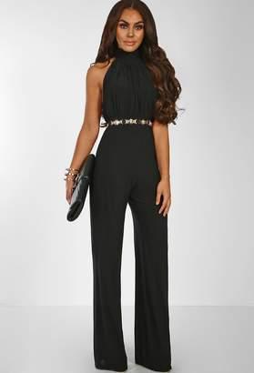 Pink Boutique Miss Thing Black Slinky Halterneck Wide Leg Jumpsuit