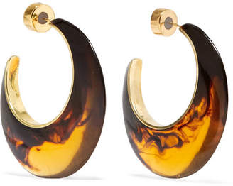 Dinosaur Designs Tortoiseshell Resin And Gold-tone Hoop Earrings