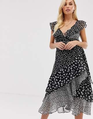 AllSaints kari scatter dress midi dress in floral mix and match print