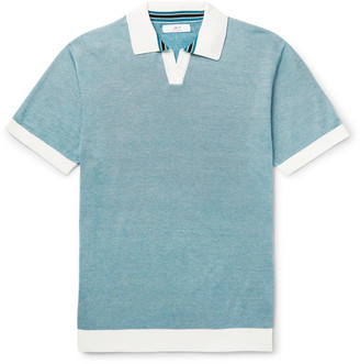 Mr P. - Knitted Cotton-Pique Polo Shirt - Men - Blue