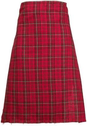 R 13 check asymmetric apron skirt