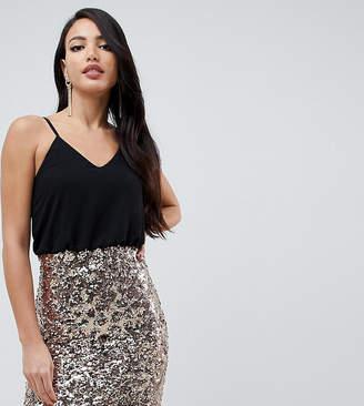 TFNC Tall 2 in 1 sequin cami mini dress in black